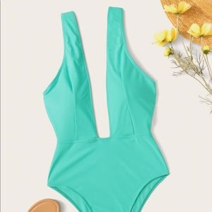 Plunging One Piece Swimsuit-NWOT